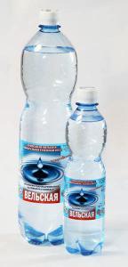 Минеральная природная питьевая столовая вода «Вельская» Вода с минерализацией 0,25- 0,45 г/дм3. Добывается из скважины глубиной 45 метров. Включает в себя все необходимые для жизни человека микроэлементы. Эта вода используется для утоления жажды и приготовления пищи. Она продается как газированной, так и негазированной, но в любом варианте выгодно отличается от водопроводной. Питьевая столовая вода «Вельскгя» разливается в ПЭТ бутыпки емкостью 0,5 л., 1,5 п., 5 л. и 13л.